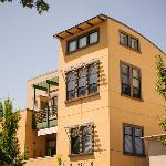 The hotel is situated on the second floor of a picturesque building in downtown Healdsburg