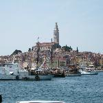 Rovinj old town seen from cafe at hotel Park