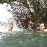Cooling off under the waterfall