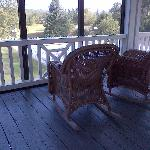 Second floor screen porch overlooking pool, Franconia Inn
