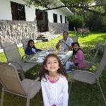 Eating breakfast on the backyard