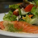 Signature Hot Smoked Salmon Salad Dish