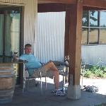Enjoying a glass of Stoller pinot on the tasting room patio
