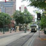 View of trolley line in front of Residence Inn Downtown Memphis
