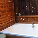 Soaking tub on our private patio