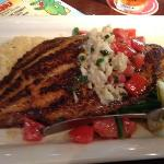 blackened catfish with cheesy grits - delicious and perfectly cooked!