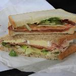 Yummy, ham, basil and brie sandwich on Fresh made bread