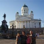 The giant Lutheran Church with the statue of Czar Alexander I