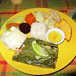 The dinner: Fish in Banana leaf, coconut rice, sweet potato, fried bread fruit, plantains
