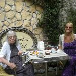 mom and i outside having breakfast
