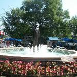 The fountain and statue of Milton S. Hershey in the park as you come in.