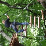 Cllimbing on the ropes.