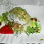 Lomo de Bacalao gratinado con crema de berros
