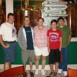 Hubby, Cousin, Me, my son, Bro-in-law standing in front of the Brewing room at Coddington Brewer