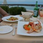 Vongole spaghetti and mixed seafood grill