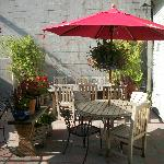 The back patio with lovely flowers