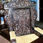 Intricately-carved chair.