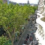 View from balcony onto La Rambla