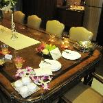 Dinning table in the Villa