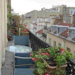 pretty potted flowers on our Parisian balcony