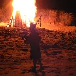 A bonfire on the beach is tradition at Ackergill Tower