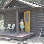 Kharsten checking out our cabin #15. Only issue no screens so couldn't open windows. 3bdrms 1bt