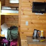The smaller sleeping room in our studio cabin