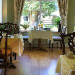 Breakfast with pleasant garden views