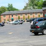Parking lot, one of first buildings to be completed