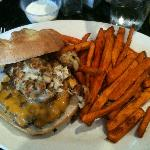 Surf & Turf Burger (3oz crab cake on a freshly pattied burger with cheddar cheese)