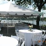 sundeck set up with tent for wedding banquet