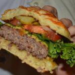 Cut-away view of burger