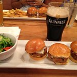 Veggie sliders, steamed vegetables and a good old fashioned Guinness on tap.