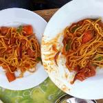 Spicy spaghetti: with one plate can eat 2 people