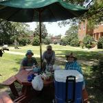 Outside having our picnic.