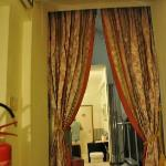 our room was beyond these curtains off the lobby