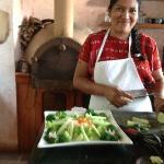 Angela preparing dinner