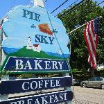 Outside sign for Pie in the Sky in Woods Hole, MA