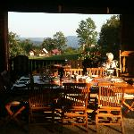 Outdoor dining in the barn