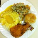 Sothern Fried Chicken, mashed potatoes and lemon gravy,