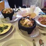 Queso Fundido con Rajas, Fresh Guacamole, Chicharrones en Salsa Verde & Tortilla Soup