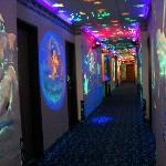 1st floor hallway in black light-fun