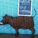 Beaded warthog sign holder.