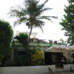 Front of the hotel with rooftop where dinner is served