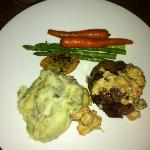 AAA Baseball sirloin with mashed potatoes and vegetables