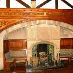 A massive fireplace in the function room.