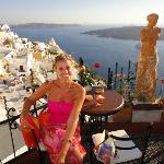Jules in Fira enjoying the sunset - caldera in background