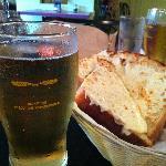 A pint of Quidi Vidi light and the cheesiest garlic bread ever