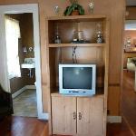 Oregon Hotel - Zimmer 1 (2 Queen), Blick links ins Bad