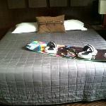 ma planche de kite surf sur le confortable lit king size
